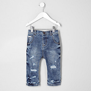 Mini - Tony - Blauwe acid wash ruimvallende jeans voor jongens