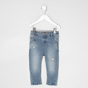Mini boys light blue Tony ripped slouch jeans