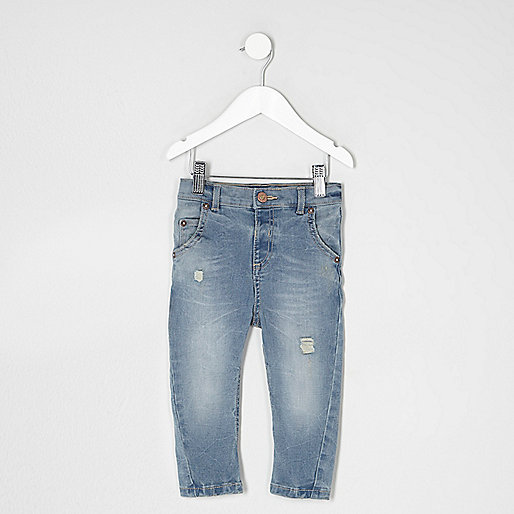 Mini boys light blue Tony ripped slouch jeans