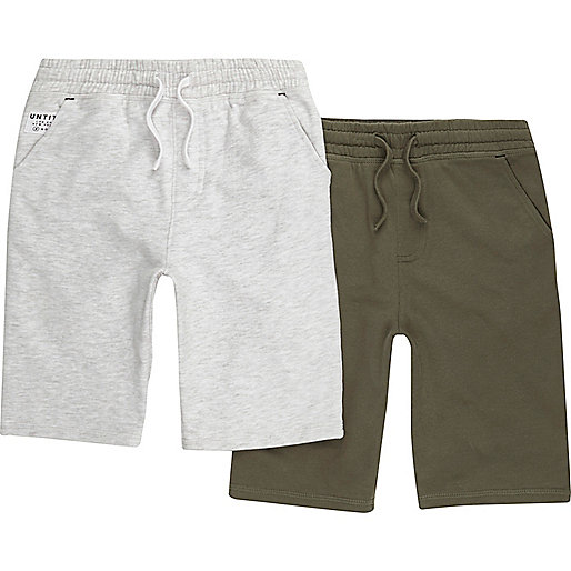 Boys grey and khaki jersey shorts multipack