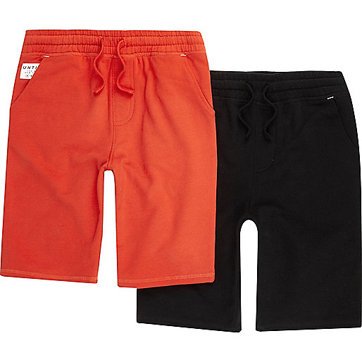 Boys red and black jersey shorts multipack