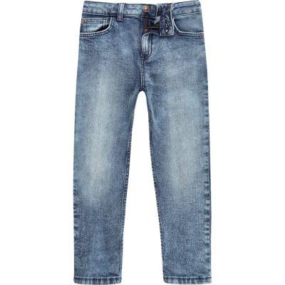 Dylan Blauwe acid wash slim-fit jeans voor jongens