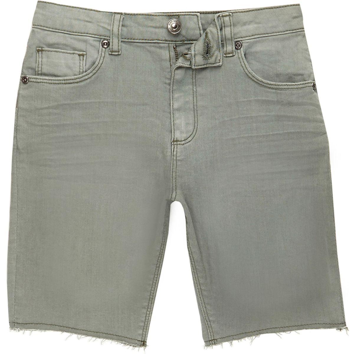 Dylan – Short en jean slim vert pour garçon