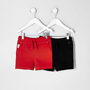Mini boys red and black shorts multipack