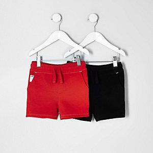 Lots de shorts noir et rouge pour mini-garçon