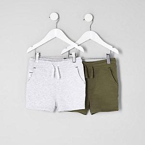 Mini - Multipack witte en kaki short voor jongens