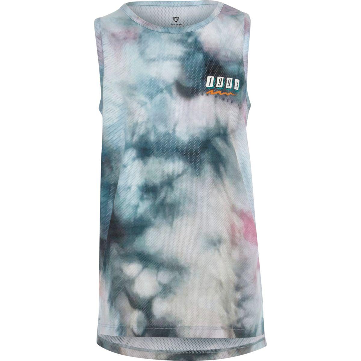 Boys blue mesh tie dye '1993' print tank