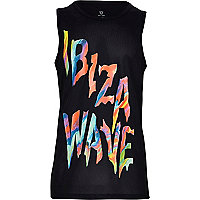 Boys black 'Ibiza wave' print vest