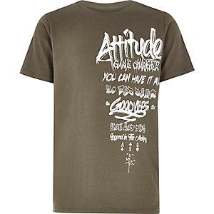 Boys khaki green 'attitude' grafitti print T-