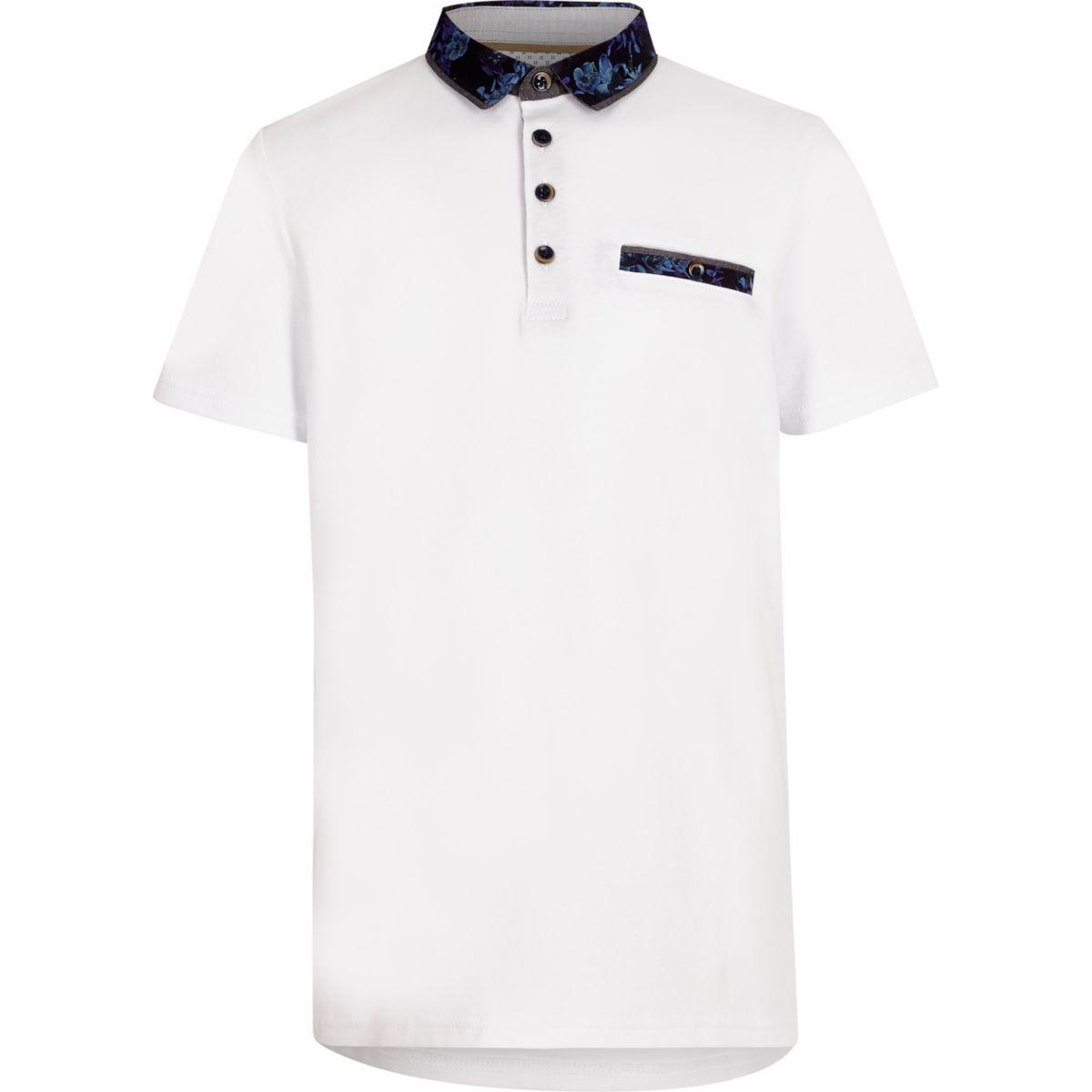 Boys white floral collar polo shirt