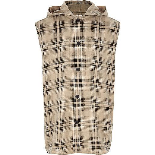 Boys cream check sleeveless hooded shirt