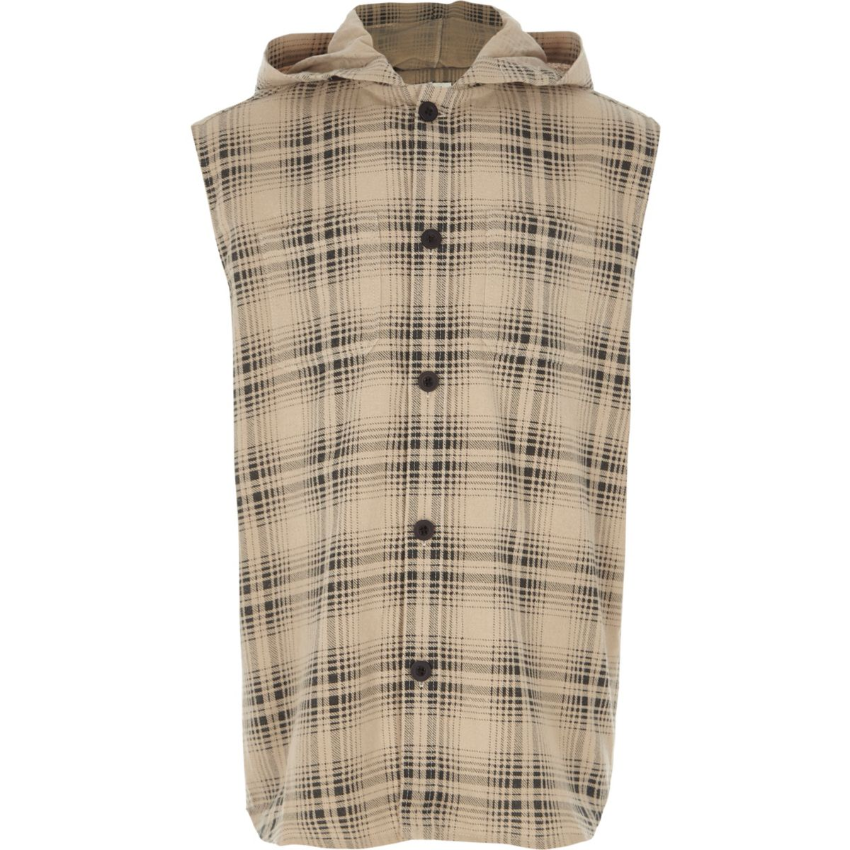 Boys cream check sleeveless hooded shirt