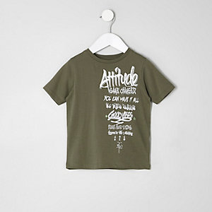 Mini boys khaki 'attitude' grafitti T-shirt
