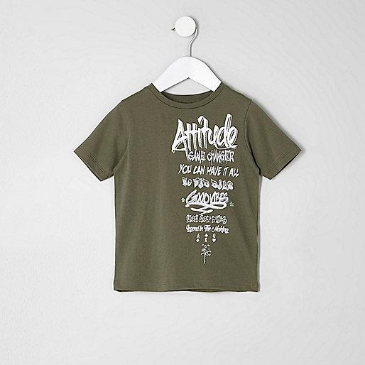 Mini boys khaki 'attitude' grafitti T-shirt