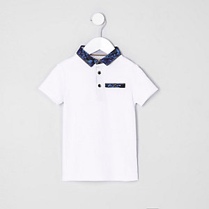 Mini boys white floral collar polo shirt