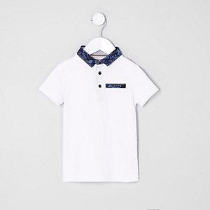 Mini - Wit poloshirt met gebloemde kraag voor jongens