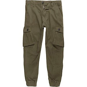 Boys khaki green cargo trousers