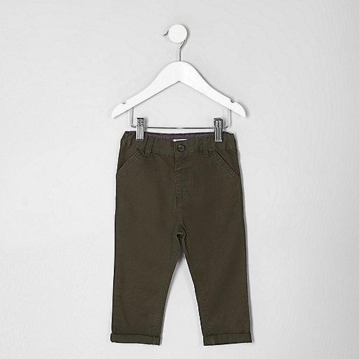 Mini boys khaki green chino pants