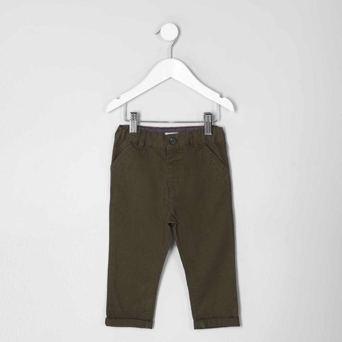 Mini boys khaki green chino trousers