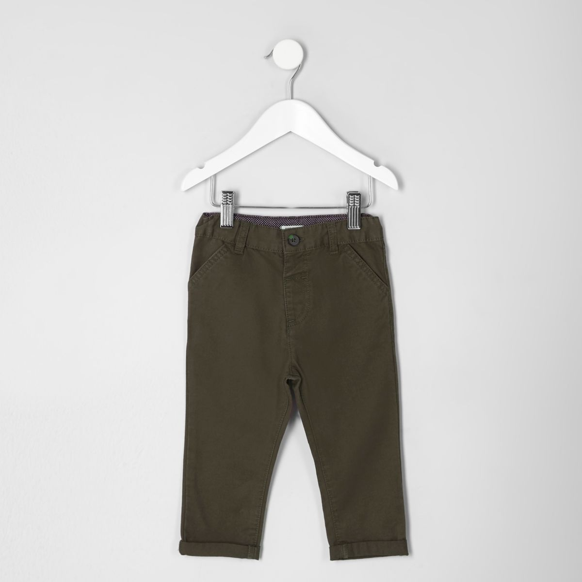 Mini boys khaki green chino pants