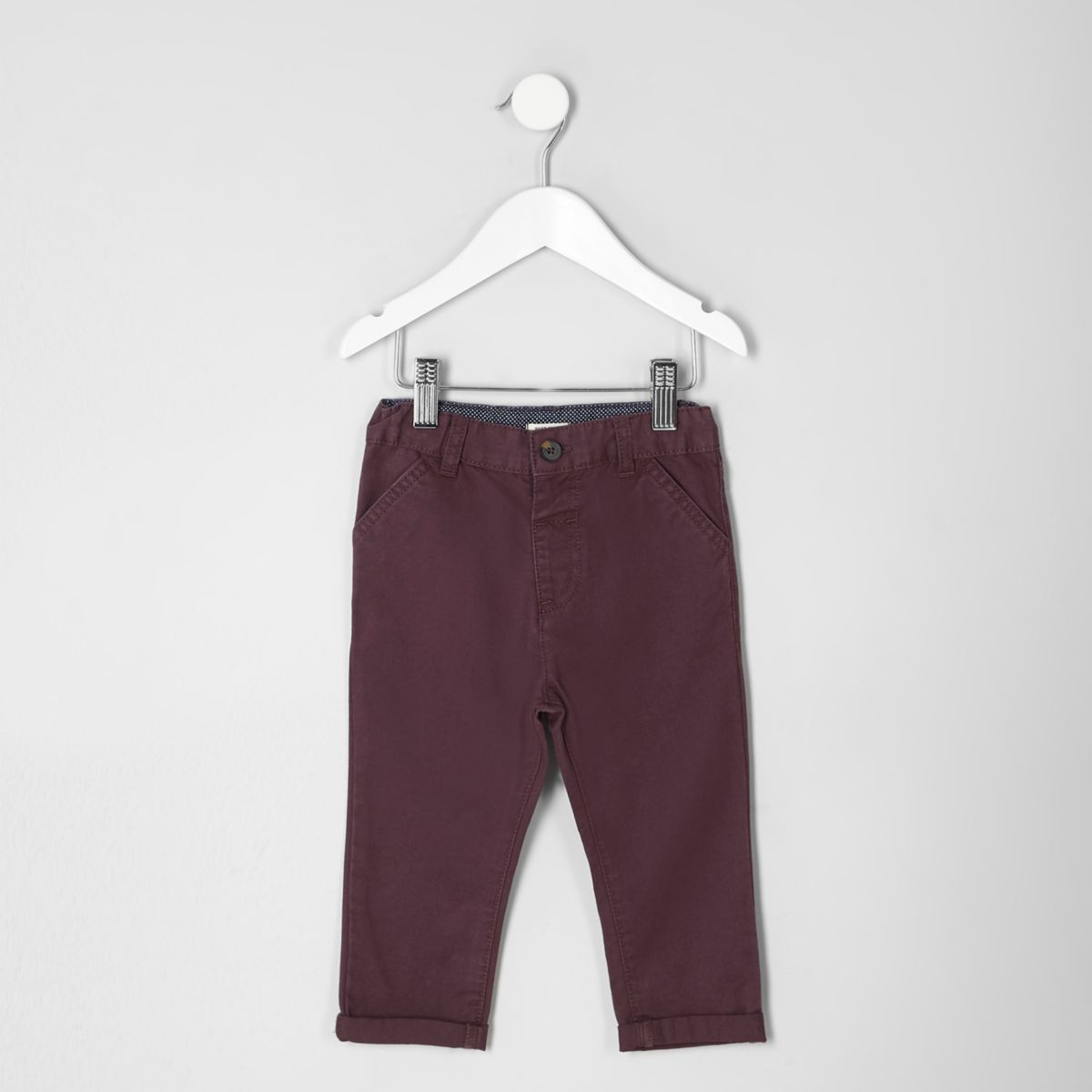 Mini boys burgundy chino pants
