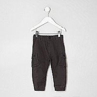 Mini boys dark grey cargo trousers