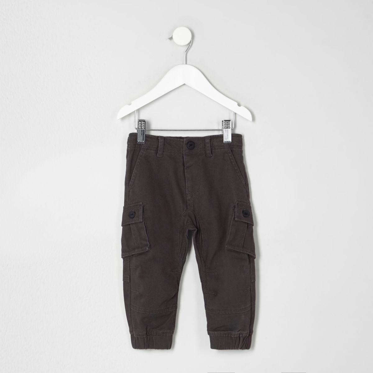 Mini boys dark grey cargo trousers
