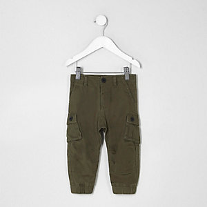 Mini boys khaki green cargo trousers
