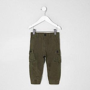 Mini boys khaki green cargo trousers