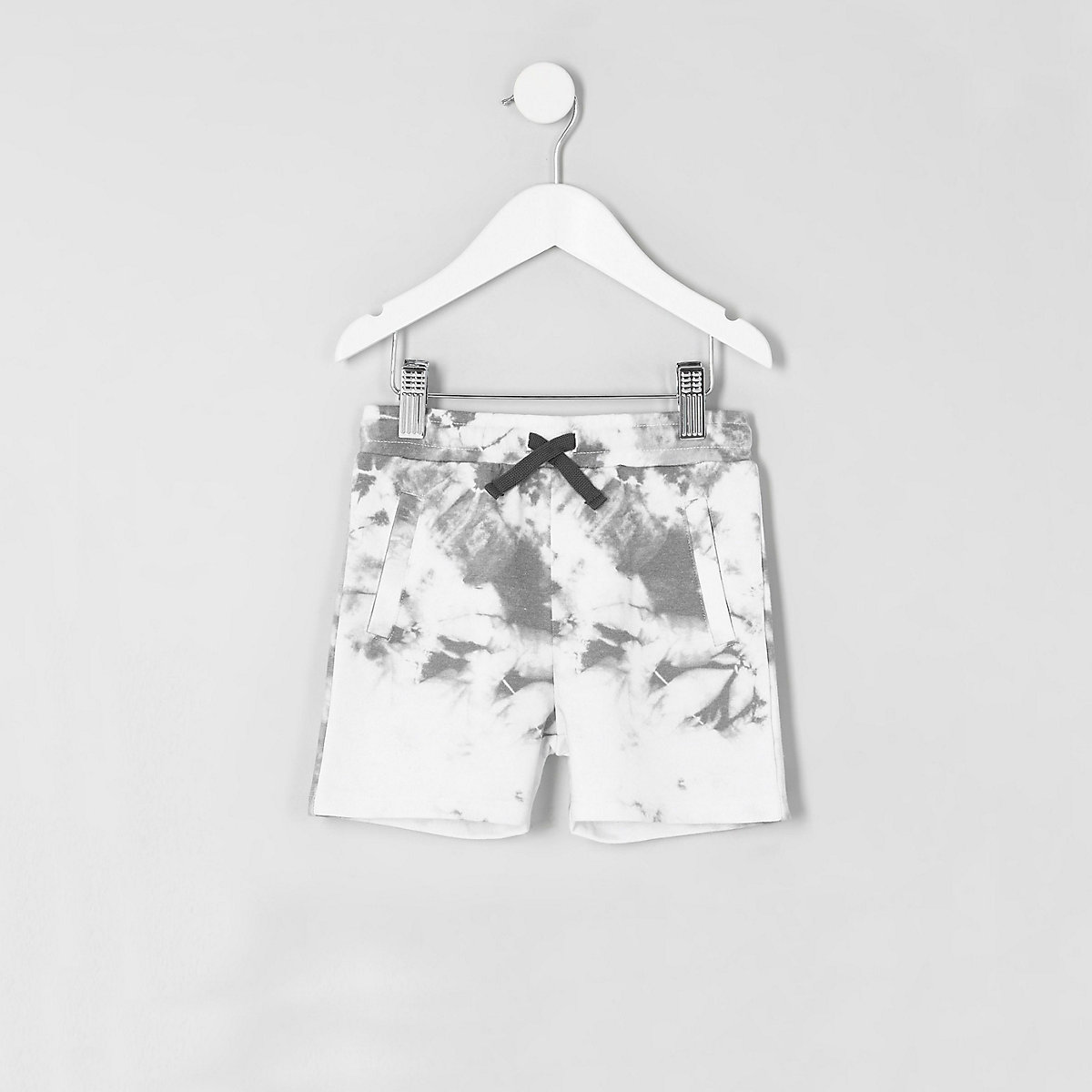 Mini boys white tie dye shorts