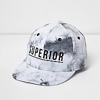 Boys white acid wash 'superior' baseball cap