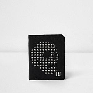 Zwarte portemonnee met doodshoofdprint en studs voor jongens