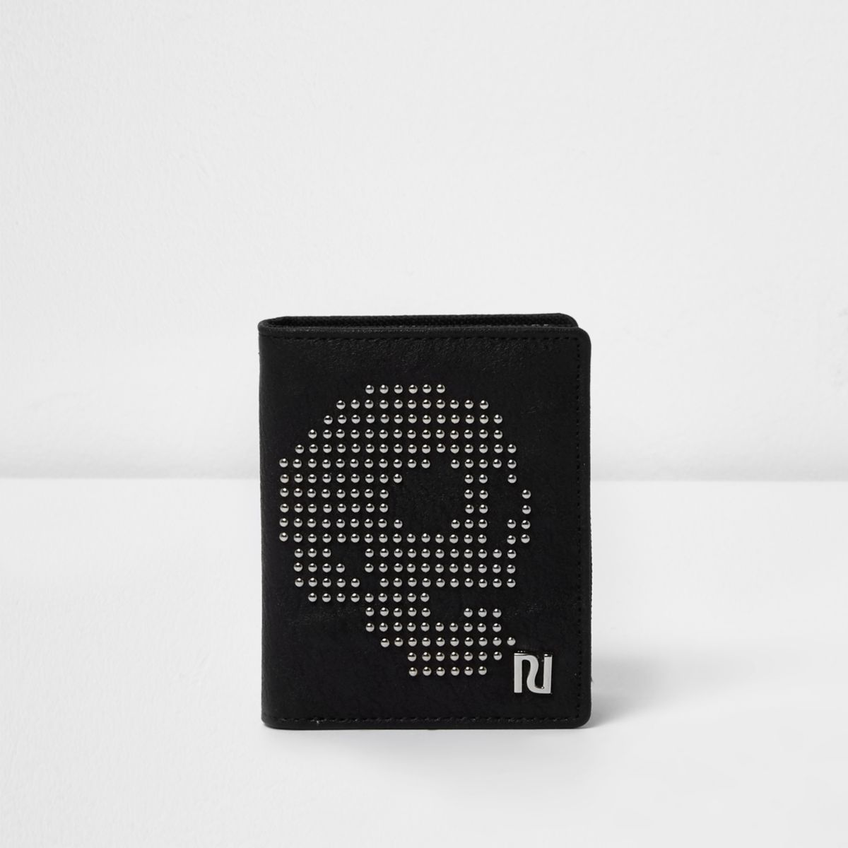 Boys black skull studded wallet