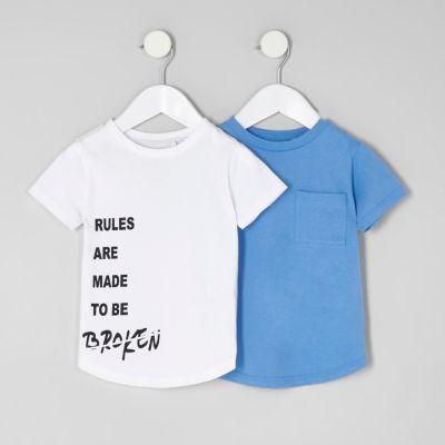 Mini Multipack wit en blauw T-shirt voor jongens