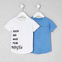 Mini boys white and blue T-shirt multipack