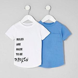 Mini - Multipack wit en blauw T-shirt voor jongens