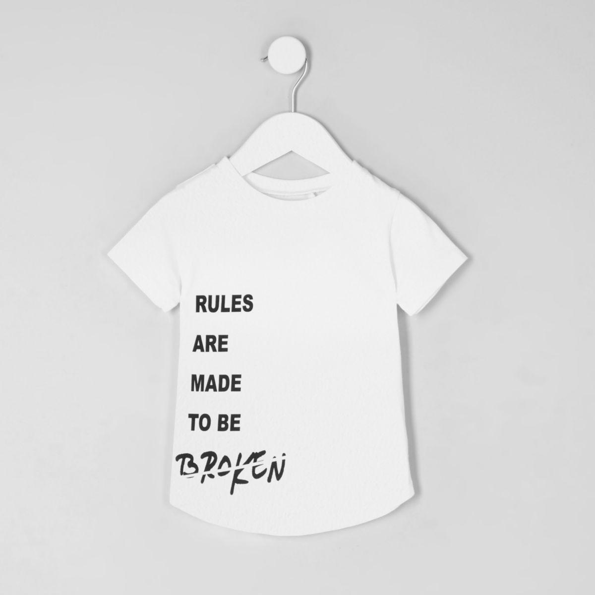 Mini boys 'rules' print curved hem T-shirt