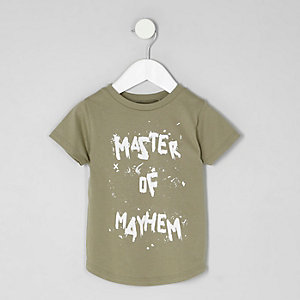 Mini boys khaki 'mayhem' print T-shirt