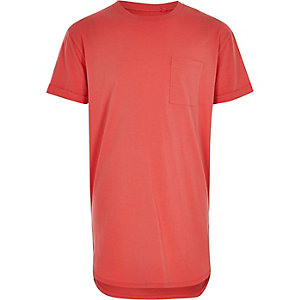 Boys coral pink curved hem T-shirt