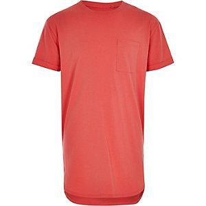 Koraalroze T-shirt met ronde zoom voor jongens