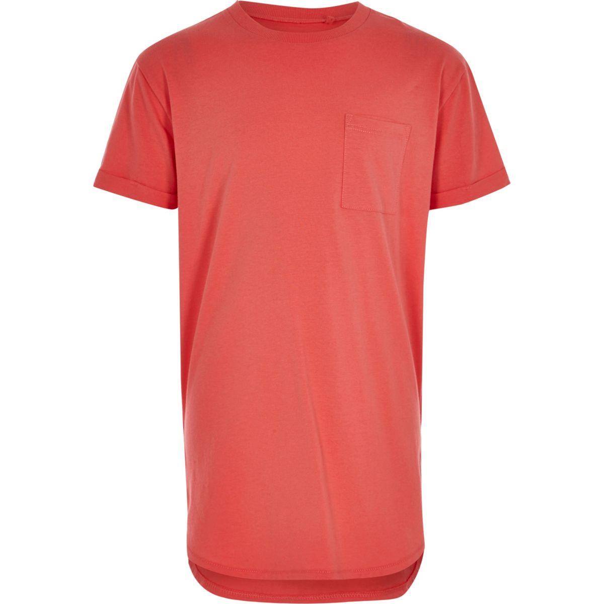 Boys coral pink curved hem T-shirt