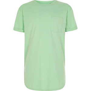 Boys lime green curved hem T-shirt
