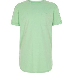 Limettengrünes T-Shirt mit abgerundetem Saum