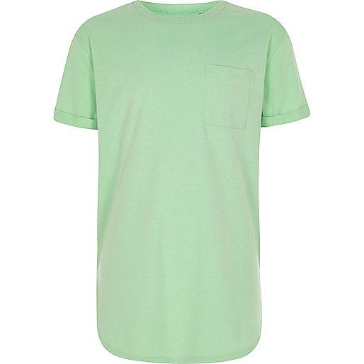 Boys lime green curved hem T-shirt
