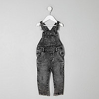 Mini boys grey acid wash denim dungarees