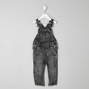 Graue Jeans-Latzhose in Acid-Waschung