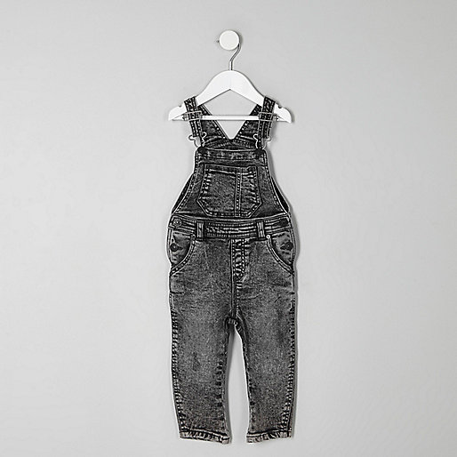 Mini boys grey acid wash denim overalls
