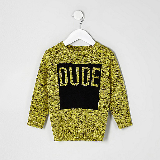 Mini boys yellow 'dude' jumper