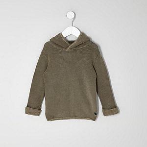 Mini - Kaki geribbelde gebreide washed pullover met capuchon voor jongens
