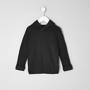 Mini boys washed black rib knit hooded jumper